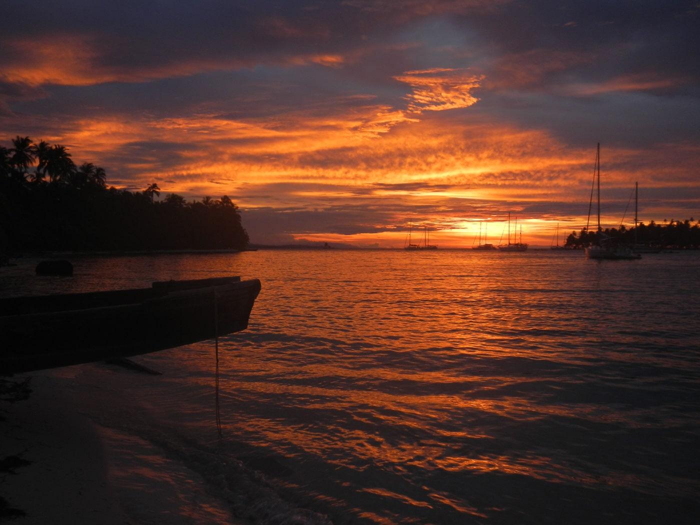 Croisiere voilier aux San blas - coucher de soleil
