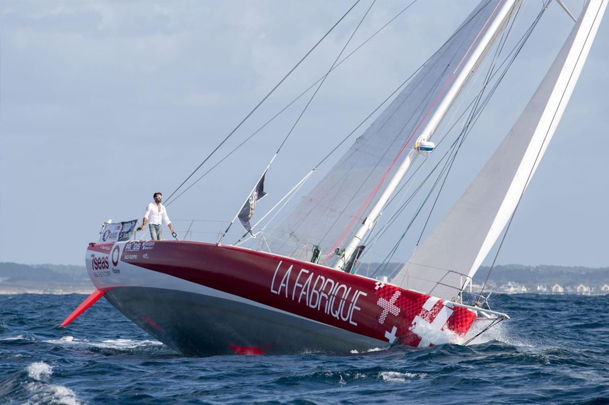 Le skipper suisse Alan Roura sur le monocoque Superbigou, désormais rebaptisé La Fabrique - Christophe Breschi
